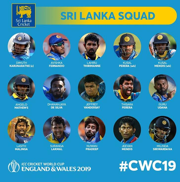 Sri Lanka Cricket World Cup Squad 2019 - e-Syndicate Network