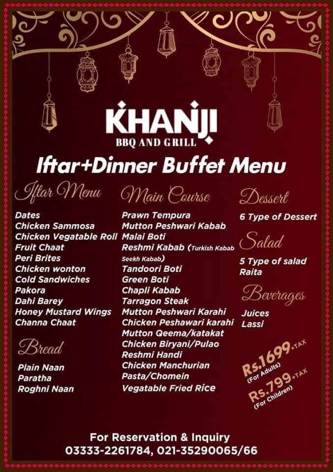Khanji BBQ and Grill Discount and Deals in Ramzan