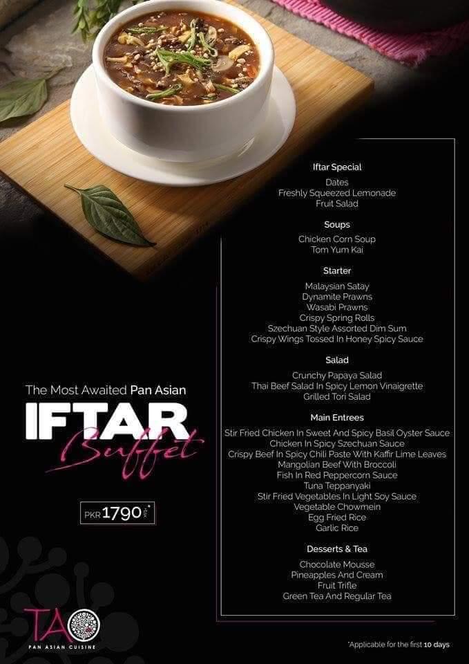 tao restaurant ramzan discount and deals in karachi