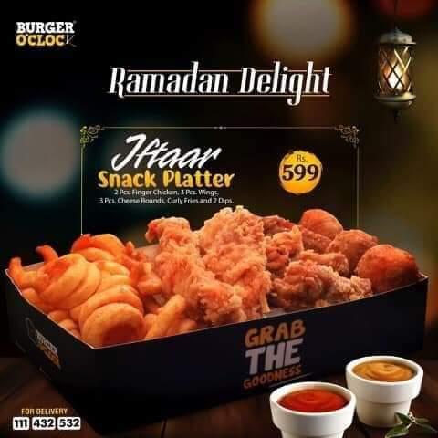 Burger o'clock Ramzan Deals and Discounts in karachi 2019