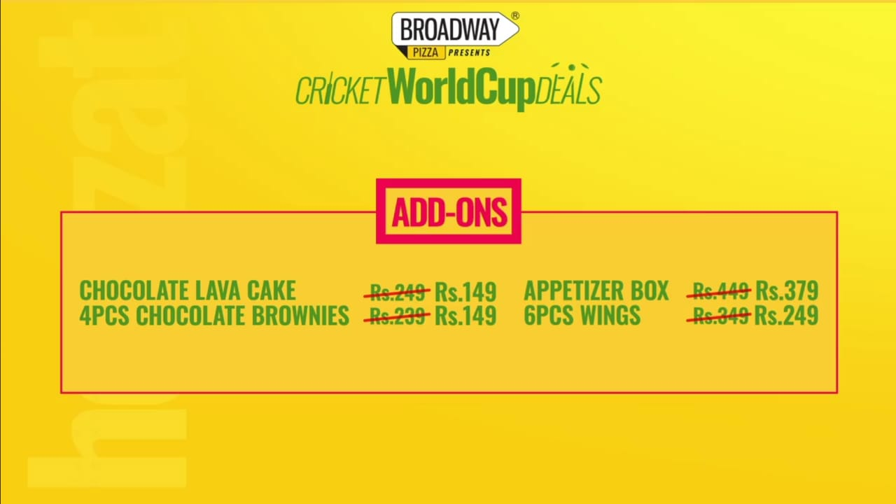 Broadway Pizza presents Cricket WorldCup Deals 2019