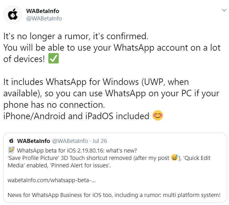 You will be able to use same WhatsApp account on different