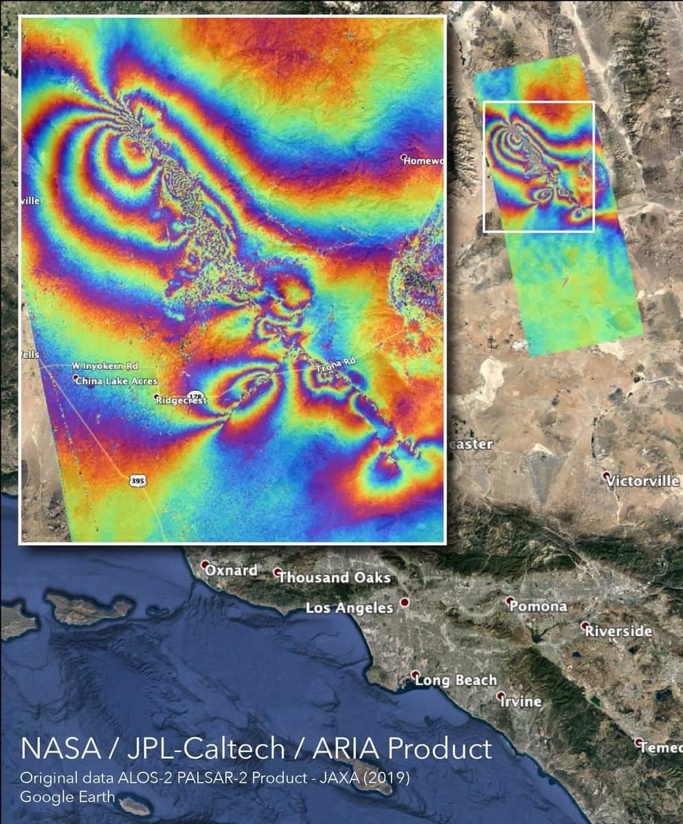 """NASA's """"Tie-Dye"""" Map found surface changes caused by California Earthquakes."""
