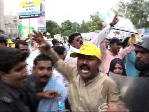 Many teachers injured while protesting as police use tear gas, water cannon in Karachi