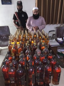 Liquor Bottles recovered from Customs Warehouse Security Guards
