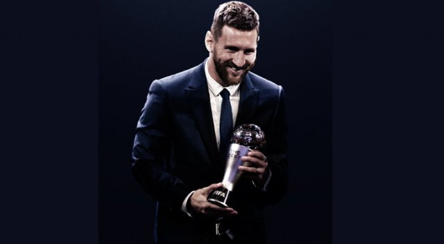 Messi is being presented with the FIFA player of the year award for record sixth time